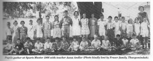 People gather at Sports Muster 1966 with teacher Anna Andler